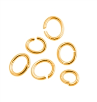 Jump Rings oval (open) 06x08mm, Silver goldplated (app. 29  pc/VE)