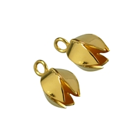 "End Cap ""Tulpe"" (Tulip) 16mm, Silver gold plated (2 pc/VE)"