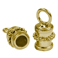 "End Cap ""Bead Decor"" 08mm/3,0mm, Silver gold plated (2 pc/VE)"