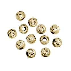 Bead 04,0mm, Silver gold plated, Lacer cut (40 pc/VE)
