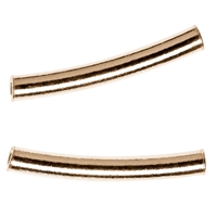 Tube curved 2x15mm, Silver gold plated frosted (15 pc/VE)