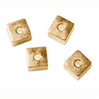 Cubes drilled through sides 4mm, Silver gold plated (10 pc/VE)