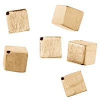 Cube 6mm, Silver gold plated frosted (6 pc/VE)