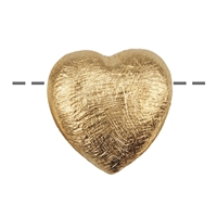 Heart 14mm, Silver gold plated frosted (3 pc/VE)
