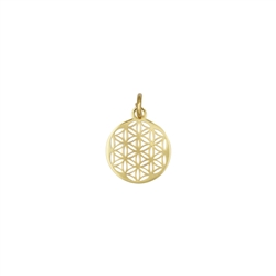 Flower of Life with Eyelet and Ring 10mm, Silver gold plated (4 pc/VE)