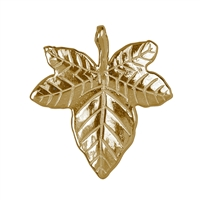 Efeublatt/Ivy Leaf with loops and drilling 21mm, Silver goldplated (2 pc/VE)