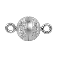 Magnetic Clasp round shape 08mm, Silver partly stardust, rhodium plated (1 pc/VE)