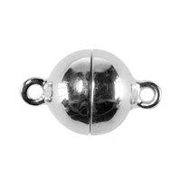 Magnetic Clasp round shape 10mm, Silver rhodiumplated (1 pc/VE)