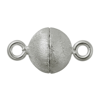 Magnetic Clasp round shape 10mm, Silver rhodiumplated frosted (1 pc/VE)