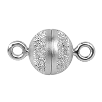 Magnetic Clasp round shape 10mm, Silver partly stardust, rhodium plated (1 pc/VE)