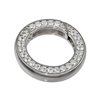 Ring Clasp with Zirconia 16mm, Silver, square-cut belt (1 pc/VE)