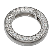 Ring Clasp with Zirkonia 20mm, Silver rhodiumplated, square-cut belt (1 pc/VE)