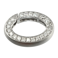 Ring Clasp with Zirkonia 15 x 21mm, Silver rhodiumplated, square-cut belt (1 pc/VE)