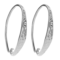 French Hook hammered Front, 21mm, Silver rhodium plated (2 pc/VE)