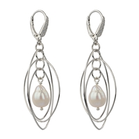 Leverback Earwire with Cubic Zirkonia, Silver rhodium plated, 18mm (2 pc/VE)