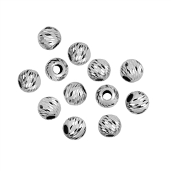 Bead 04,0mm, Silver rhodium plated, Lacer cut (40 pc/VE)