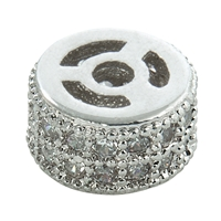 Barrel 7 x 4mm, Silver rhodium-plated with Cubic Zirconia (synth.) (1 pc/VE)