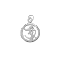 Om Symbol with Loop 15mm, Silver rhodium plated (1 pc/VE)