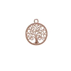 Tree of Life with two Loops 15mm, Silver rosegold plated (1 pc/VE)