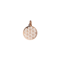 Flower of Life with Eyelet and Ring 10mm, Silver rose gold plated (4 pc/VE)