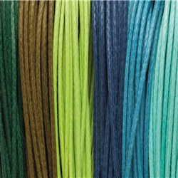 "Cotton Strings waxed, Mix ""Regenwald/Rainforest"", 2,0mm (6 colours, 5m each)