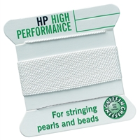 High Performance Bead Cord white + threading help, 0,90mm/2m
