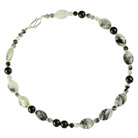 Design Collier with silver components, Turmaline quartz and Black Turmaline, length: 48cm