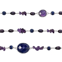 "Wire Wrapping Collier ""Amethyst, Lapis and blue Pearl (dyed)"", 90cm"