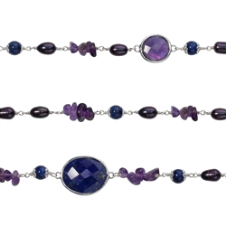 "Wire Wrapping-Collier ""Amethyst, Lapis and blue Pearl (dyed)"", 50cm"