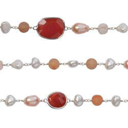 "Wire Wrapping-Collier ""Facettierter Carneol mit Perle"", 90cm"