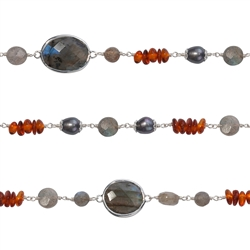 "Wire Wrapping Collier ""Labradorite, Pearl (dyed) and Amber"", 90cm"