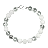 Necklace Beads Rock Crystal clear and crashed frosted (20mm), Silver elements, 50cm
