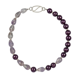 Collier Amethyst faceted, Shell Pearl violet, 49cm