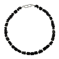 "Design-Collier ""March"" Black Turmaline (stab.) with Silver Elements, 49cm"