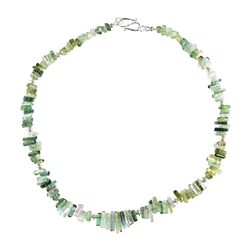 Necklace Tourmaline (green), 46cm, Silver