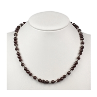 Collier Garnet (Almandine), Onyx faceted, 48cm