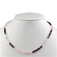 Collier Rose Quartz, Garnet, 46cm