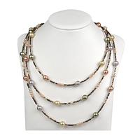 Collier Shell Pearls and Hematine-Discs, Length appr. 178cm, endless