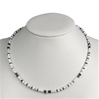 Necklace Magnesite, Hematine, Silver, 45cm