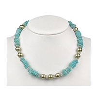 "Collier Amazonite, Rock Crystal, Pearl (""Türkis-Grün""), 45 - 51cm"