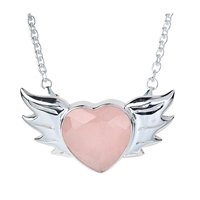 "Necklace ""Heart with wings"", Rose Quartz faceted, Link chain 3mm/50cm"