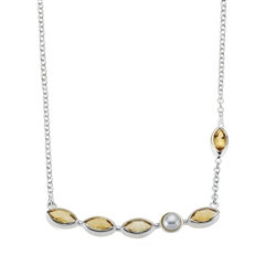 Collier Citrine and Pearl, 42 - 50cm