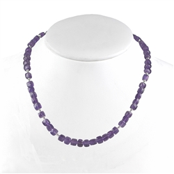 Collier Amethyst faceted, 48cm