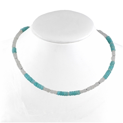 Collier Amazonite, Rock Crystal, 47 - 52cm