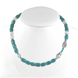Collier Amazonite, Rock Crystal faceted, 48cm