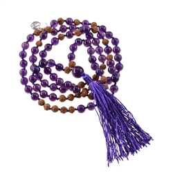 Gemstone Mala Necklace Amethyst (Inner Peace)