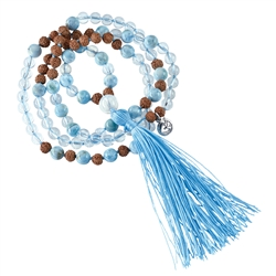 Gemstone Mala Necklace Rock Crystal, Larimar (Openness)