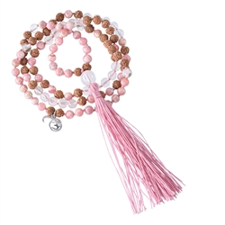 Gemstone Mala Necklace Rock Crystal, Rhodochrosite (Pick me up)