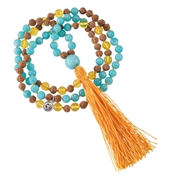 Gemstone Mala Necklace Amazonite, Amber (Self-Determination)
