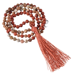 Gemstone Mala Necklace Petrified Wood, red jasper (Groundness)